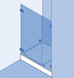 Type 2: Douchewand, vast paneel en deur