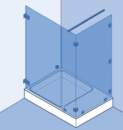 Type 5: Hoekopstelling, deur en 2 vaste panelen