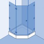 Type 6: Vijfhoek, deur en 2 vaste panelen onder 135°